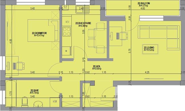 Apartament de vanzare 2 camere  in Cluj Napoca - cartierul Intre Lacuri
